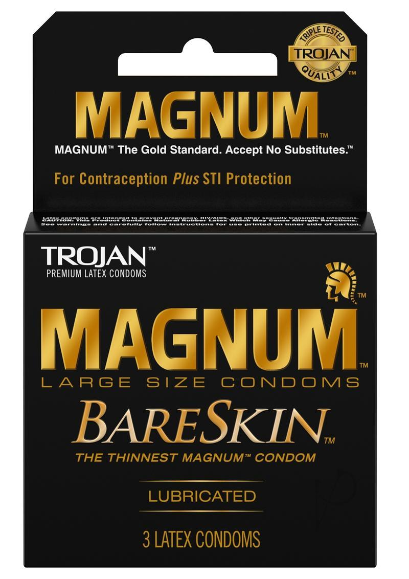 Trojan Magnum Bareskin Lubricated Latex Condoms 3-pack Large